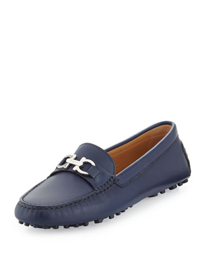 Saba Leather Gancini Driver, Oxford Blue
