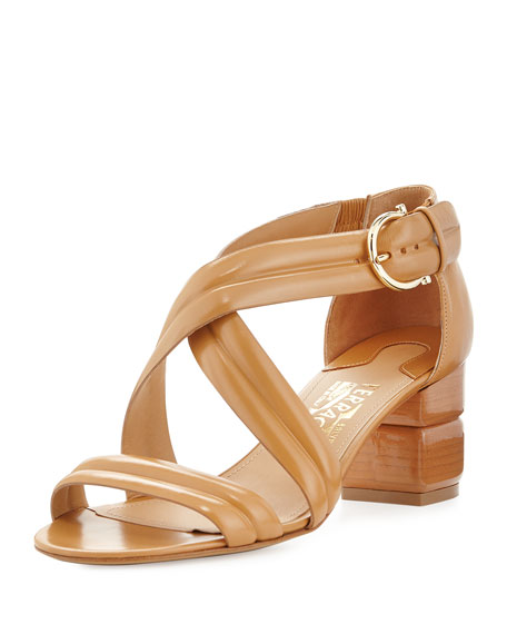 Salvatore Ferragamo Magis Stacked Leather Sandal, Sienne
