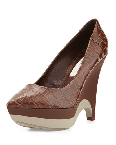 Faux-Leather Platform Wedge, Brown