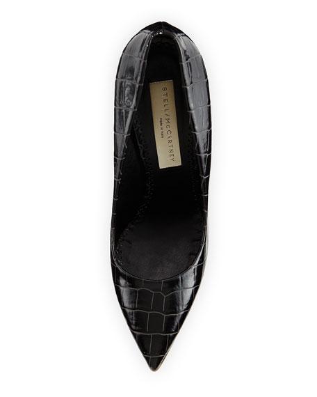 Croc-Embossed Faux-Leather Pump, Black