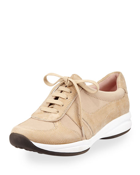 Taryn Rose Arvella Leather Trainer Sneaker, Soft Taupe