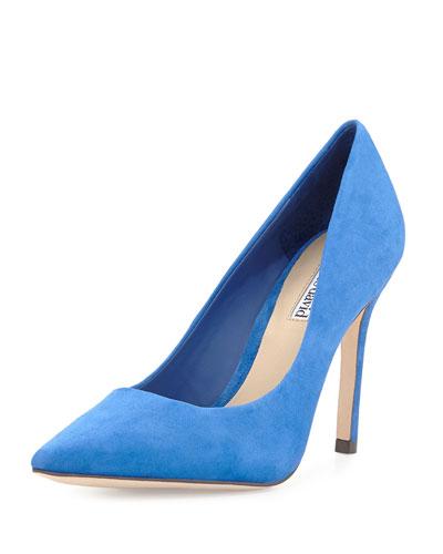 Katya Suede Point-Toe Pump, Blue