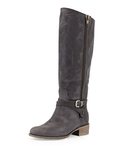 Gratex Distressed Leather Riding Boot, Black
