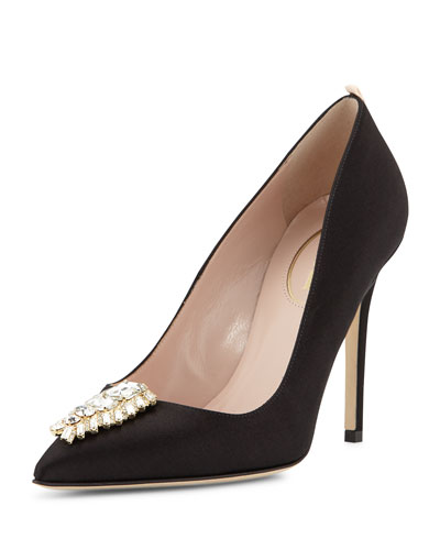 Tempest Satin Ornament Pump, Black