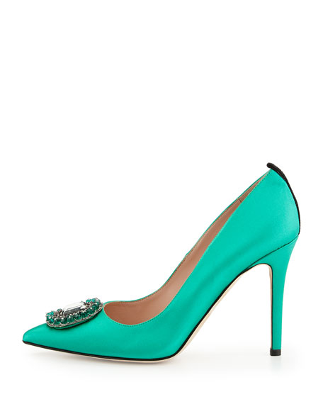 Thea Satin Ornament Pump, Green