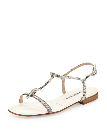 Manolo Blahnik Olon Snakeskin T-Strap Flat Sandal, Black/White