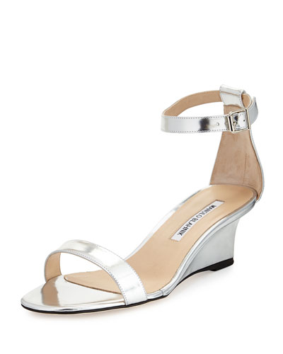 Valere Metallic Demi-Wedge Sandal, Silver
