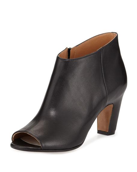 Maison Margiela Open-Toe Leather Bootie, Black