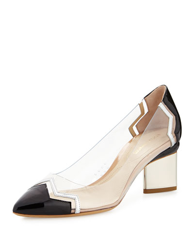Chevron Block-Heel Pump, Black