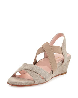 Spiro Demi-Wedge Sandal, Soft Taupe