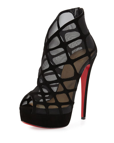 Altarakna Mesh-Caged Red Sole Bootie, Black