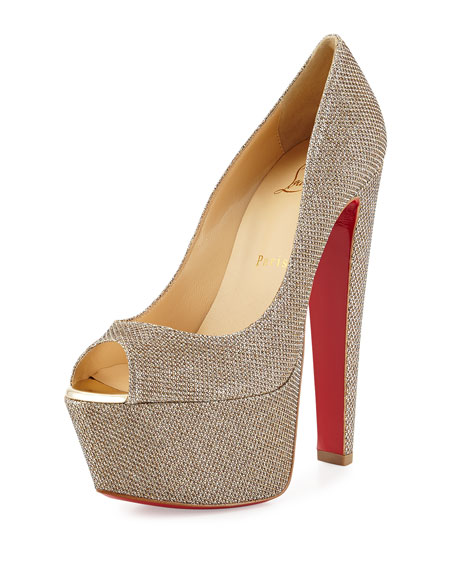christian louboutin mens - Christian Louboutin Altareva Glitter Fabric Red Sole Pump, Gold
