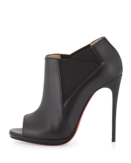 replica mens louboutin - Christian Louboutin Bootstagram Red Sole Peep-Toe Bootie, Black