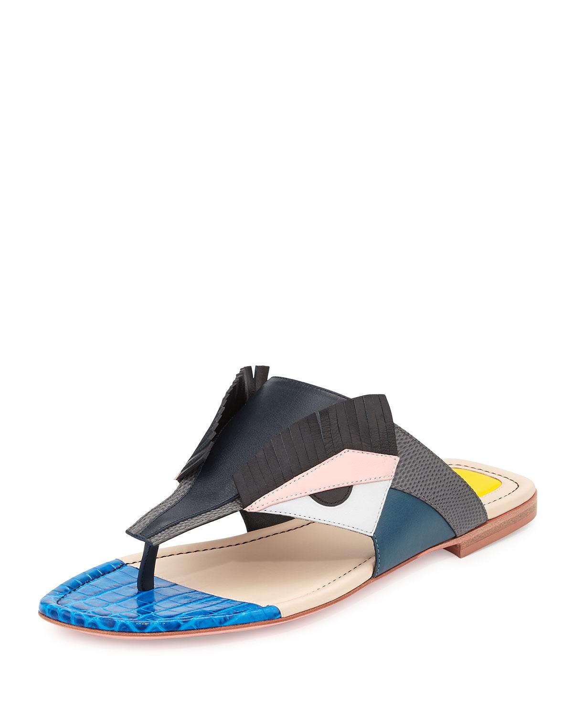 dc95c73240d4 Fendi Bugs Leather Monster Sandal