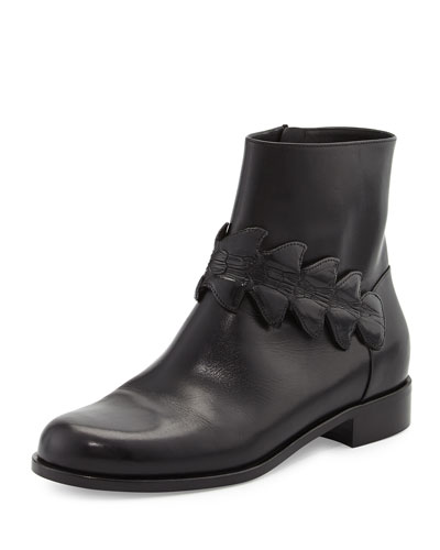 Ava Croc-Strap Leather Bootie, Black