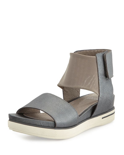 X2PXP Eileen Fisher Spree Sport Leather Sandal, Antique Silver