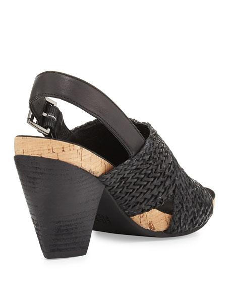 Gaze Braided Mid-Heel Sandal, Black