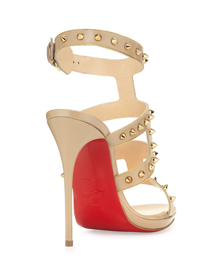 Sexystrapi Jazz Studded-Zip Red Sole Sandal, Beige/Gold