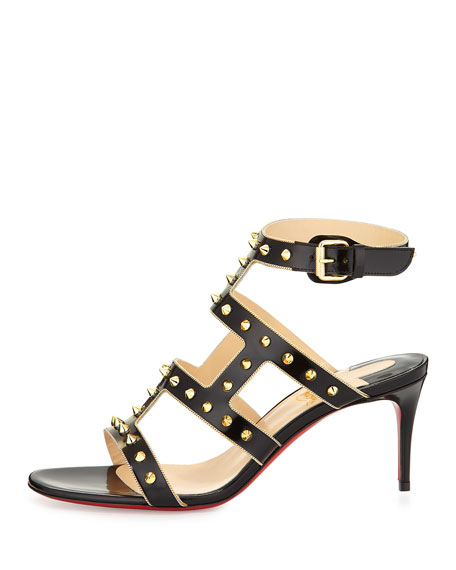 Sexystrapi Jazz Studded-Zip Red Sole Sandal, Black