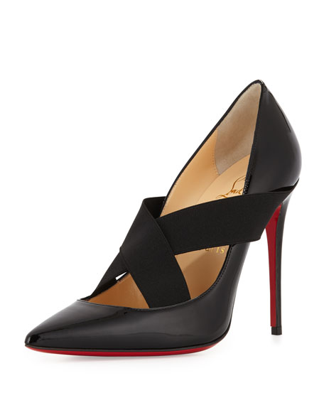 Sharpstagram Cross-Strap Patent Red Sole Pump, Black