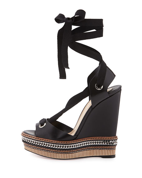 Tribuli Lace-Up Red Sole Wedge Sandal