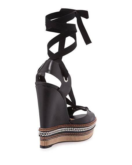 christian louboutin metallic tie-up sandals