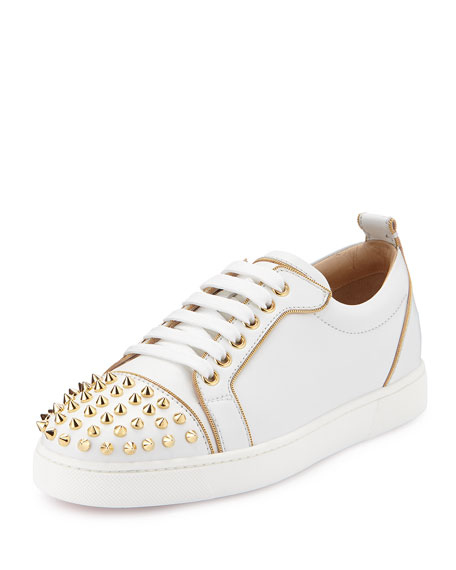 Rush Spiked Leather Low-Top Sneaker, White/Gold