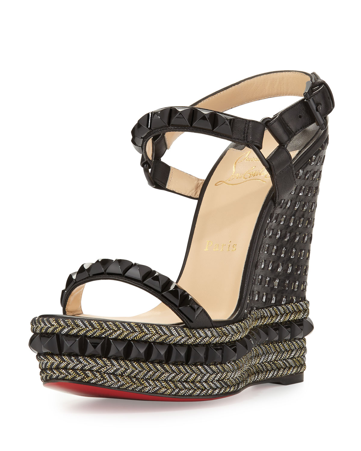 brand new a45d2 19703 Cataclou Studded Red Sole Wedge Sandal, Black
