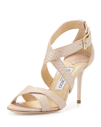 Louise Snake-Embossed Leather Sandal, Nude