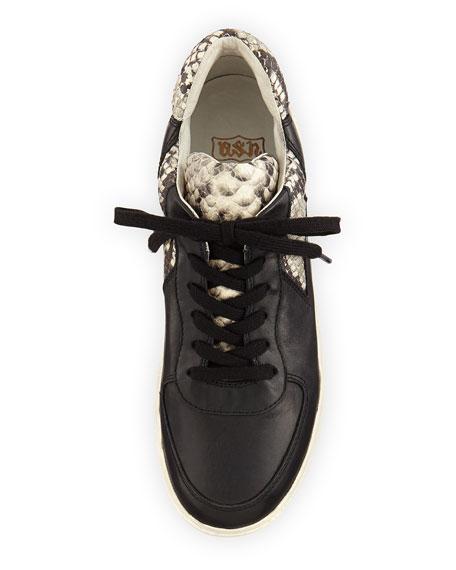 Fool Platform Leather Sneaker, Black