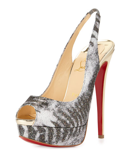 Christian Louboutin Lady Peep Slingback Red Sole Platform Pump, ...