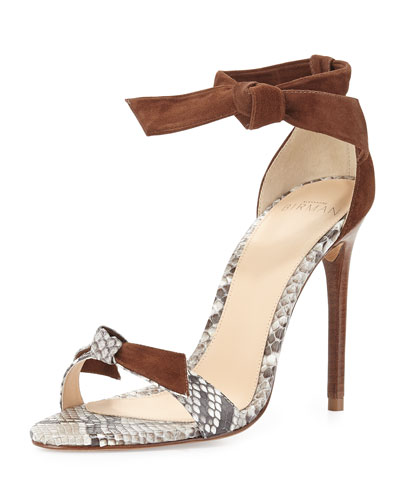 Lolita Leather & Python Bow-Tie d'Orsay Sandal, Natural/Cognac