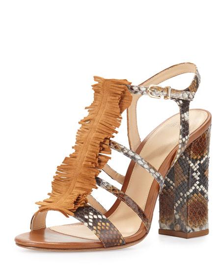 Alexandre Birman Angelle Strappy Python Sandal, Caramel