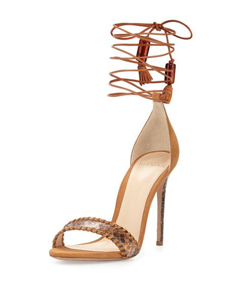Alexandre Birman Toni Leather & Python Sandal, Macchia/Caramel