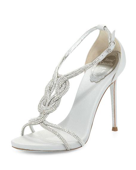 Rene Caovilla Twist-Strap Crystal-Embellished Sandal, Silver