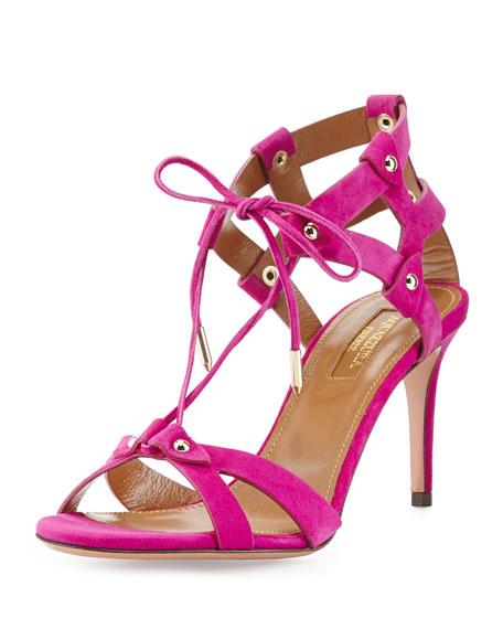 Aquazzura Bel Air Suede Cage-Heel Sandal, Orchid