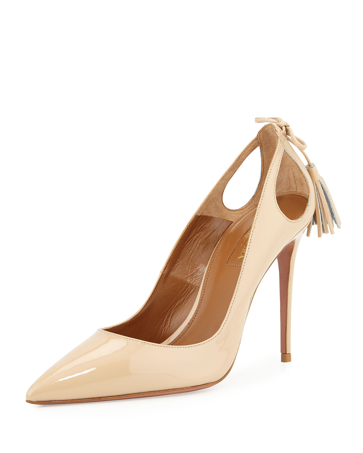 Aquazzura Forever Marilyn Patent Leather Cutout Pump, Nude | Neiman Marcus