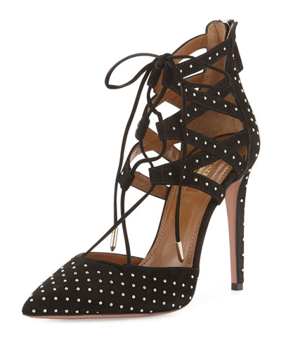 Belgravia Studded Suede Lattice Sandal, Black