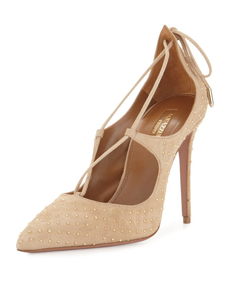 Christy Studded Lace-Up Pumps, Nude