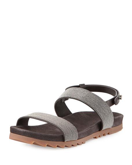 Brunello Cucinelli Monili Double-Strap Sandal, Graphite