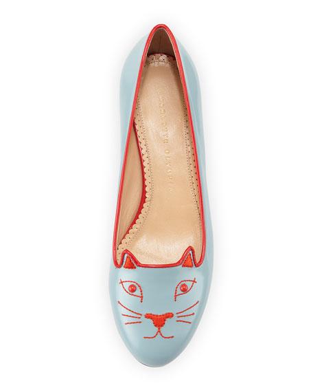 Kitty Studs Leather Flat, Blue/Gray