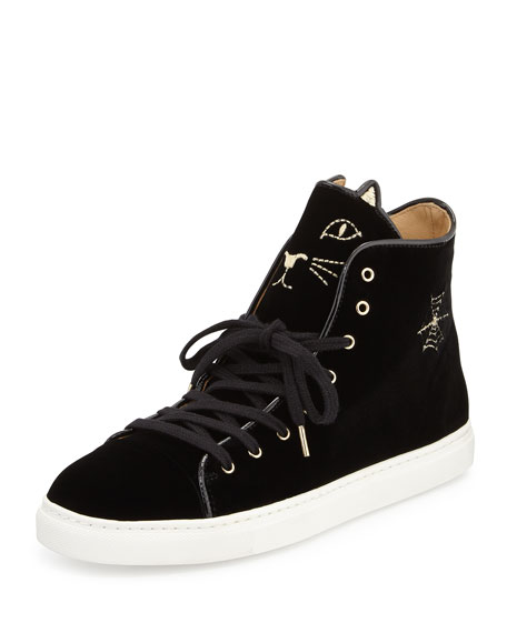 Charlotte Olympia Purrrfect High-Top Kitty Sneaker, Black
