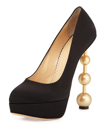 Century Heels Silk Pin-Heel Pump, Black