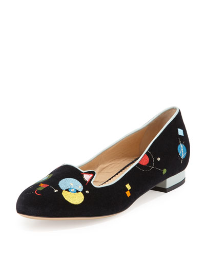 Abstract Velvet Kitty Flat, Black