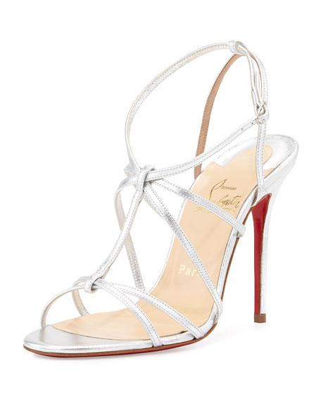 aaa replica shoes - Christian Louboutin Metallic Crisscross Red Sole Sandal, Silver