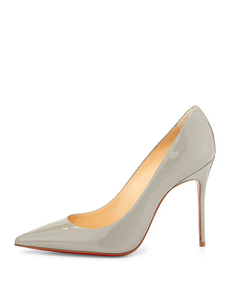 Decollette Pointed-Toe Red Sole Pump, Gray