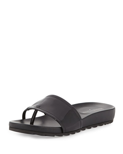 Tiso Patent Leather Sandal Slide, Black