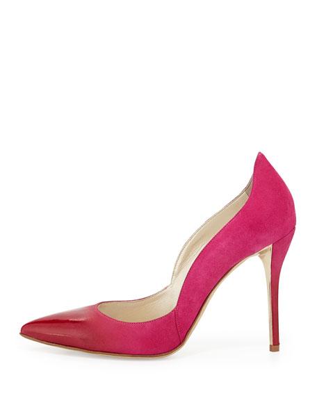 Sabrina Ombre Suede Pump, Shocking Pink