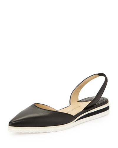 Napa Leather Slingback Flat, Black