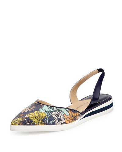 Floral-Print Leather Slingback Flat, Twilight/Botanica